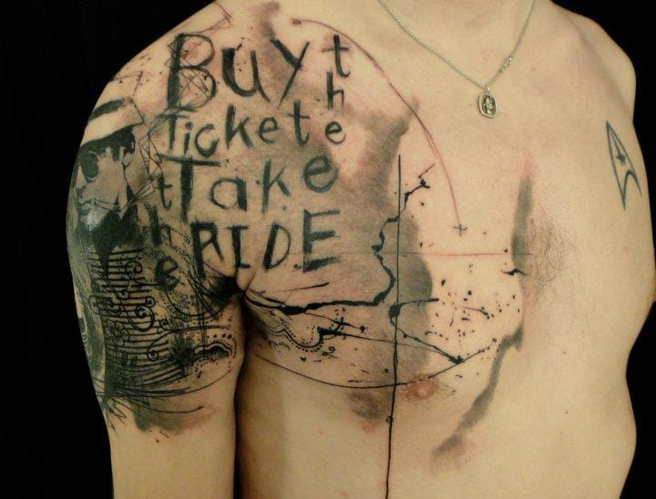 """Buy the ticket, take the ride"" Hunter S. Thompson quote tattoo by Xoil"