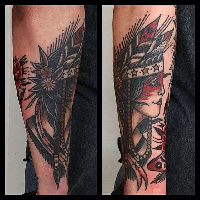 Native girl head tattoo