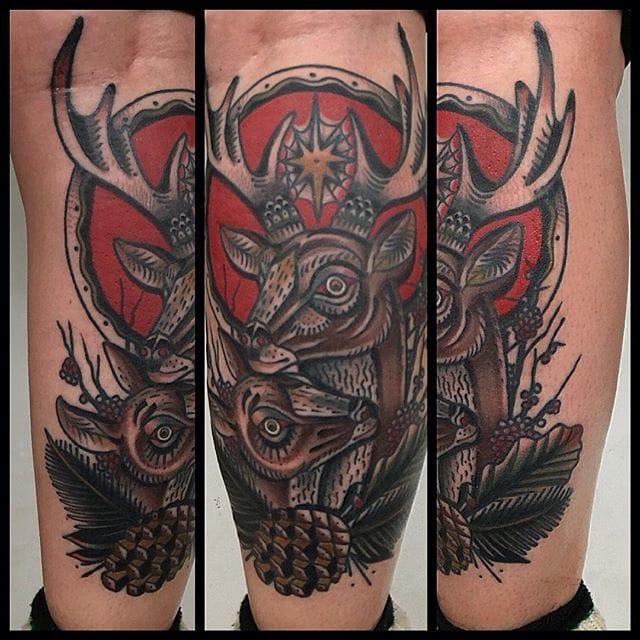 Deer tattoo by Bob Geerts