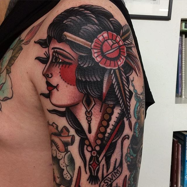 Awesome girl head shoulder tattoo