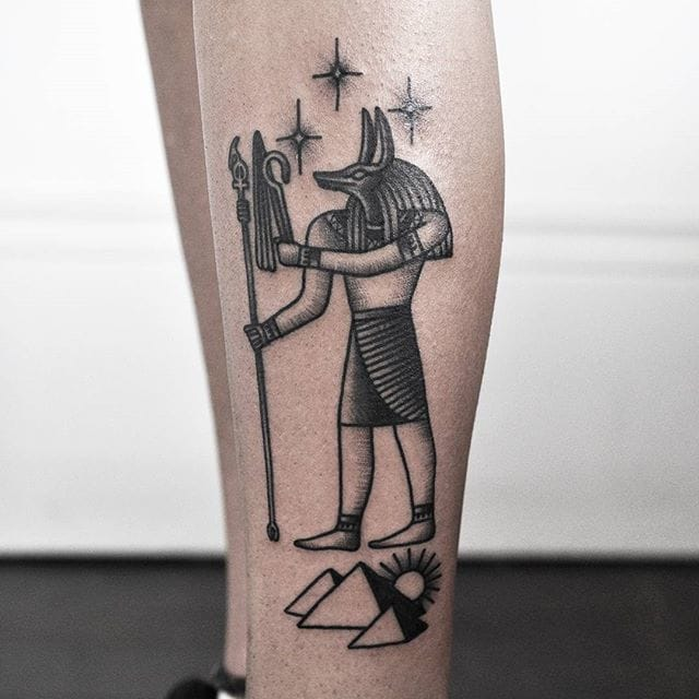 Anubis Tattoo by @aimeedoestattoos