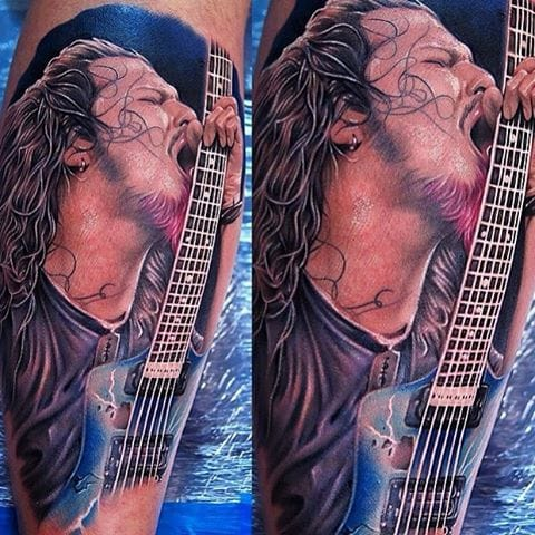 Dimebag Darrell of Pantera tattooed by @khantattoo
