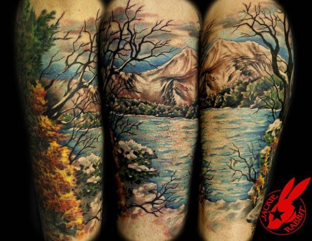 Morning coffee at this place? YES!!! Such an inviting Landscape Tattoo by Jackie Rabbit.