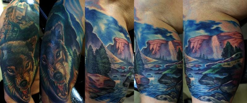 Landscape Tattoos can be wrapped around, or placed on a spacious spot like on the upper arms, chest, front or back. It can also work as a great theme for a full sleeve!