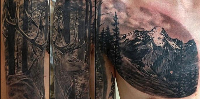 This black & grey Landscape Tattoo is beautifully placed and stunning even just in black!
