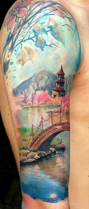 The colors and mood of this painter style tattoo evokes a feeling of peace & calm.