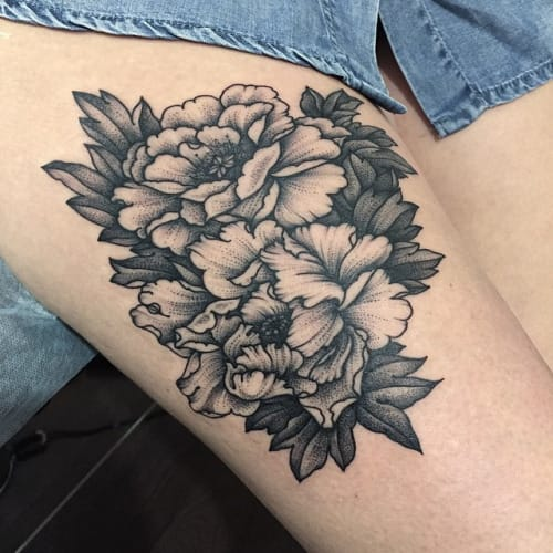 10 Black & Beautiful Peony Tattoos