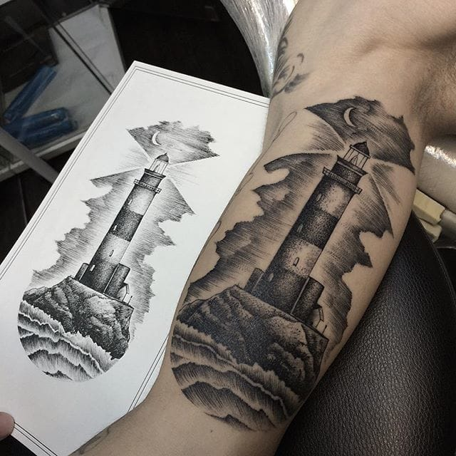 Lighthouse Tattoo by Savaş Doğan