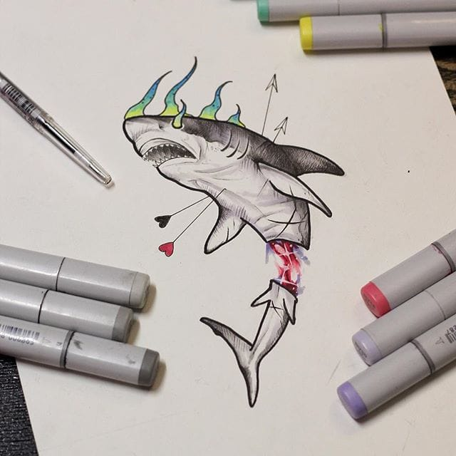 Surrealistic shark drawing by Anzo Choi