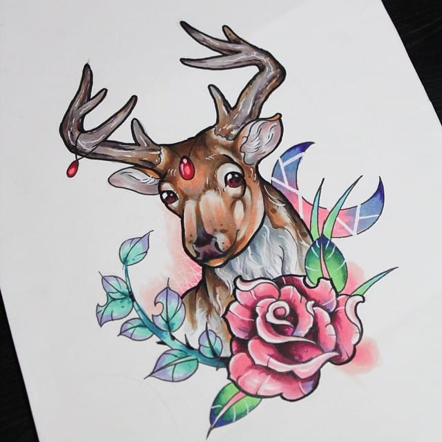 Deer with a rose by Anzo Choi