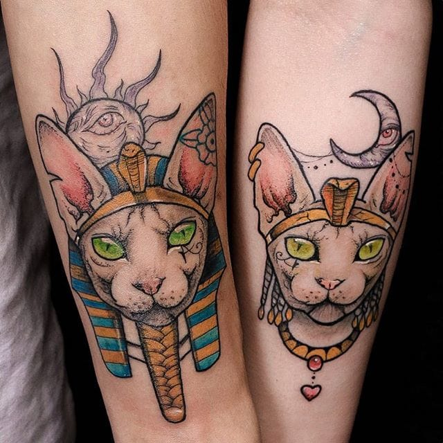 Anzo's Egyprian cat couple tattoos