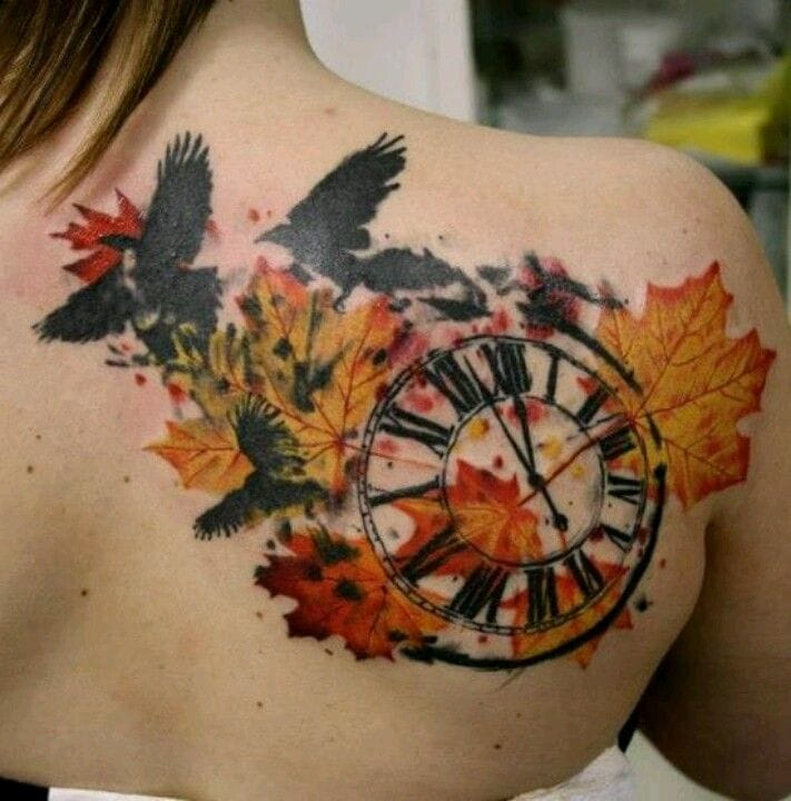 The time and migratory birds are flying... Beautiful tattoo by Timur Lysenko.
