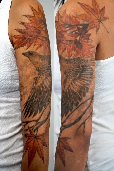 Very nice mockingbird tattoo by Thea Duskin.