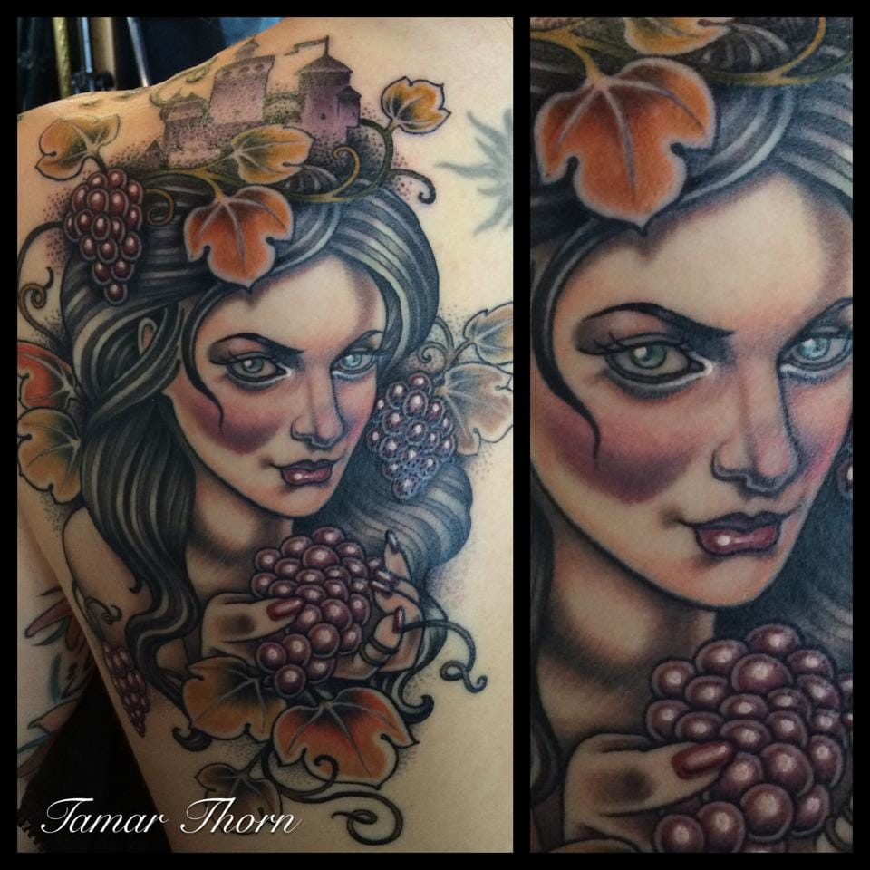 Gorgeous grapes lady by Tamar Thorn.