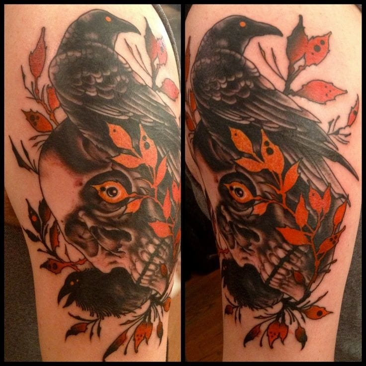 The orange is adding some dramatic effect here, by Richard Smith of Red Rocket Tattoo, NY.