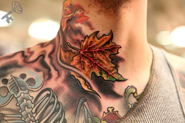 Incredible texture in this neck tattoo by Nathan Kotechko!
