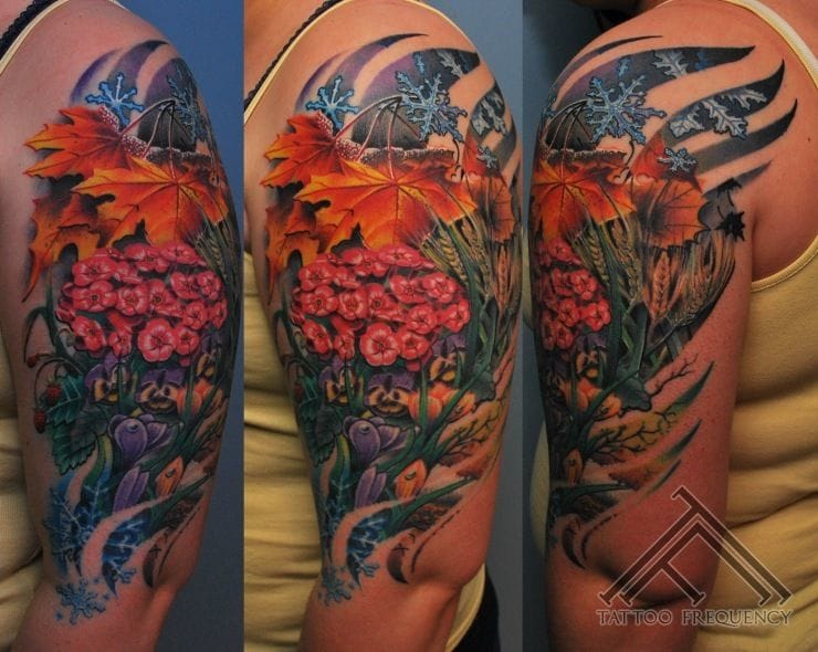 40 Colorful Fall Tattoos | Tattoodo