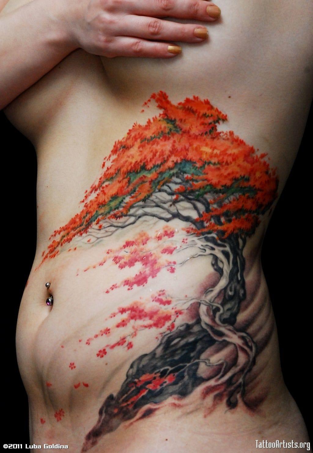 Amazing tree tattoo by Luba Goldina.