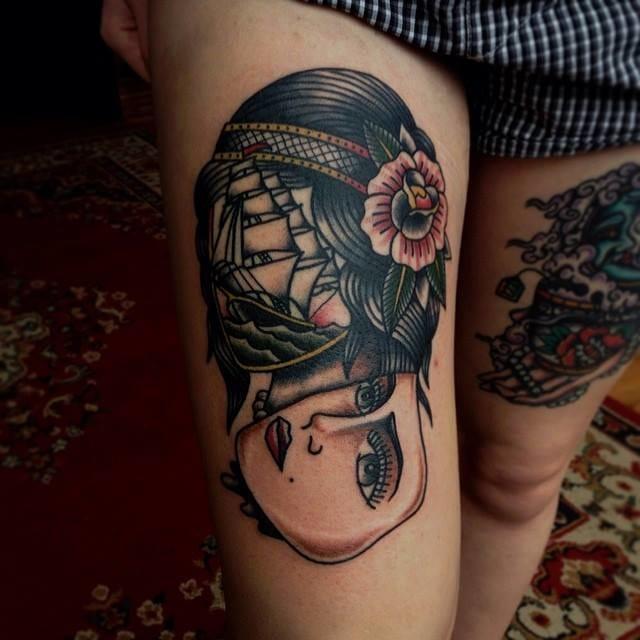 Thigh Tattoo by Iain Sellar