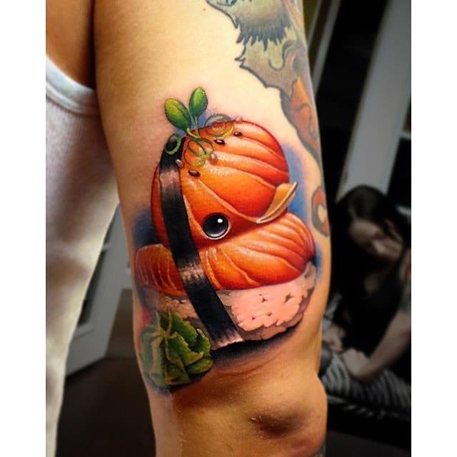 Cute sushi tattoo by Steven Compton