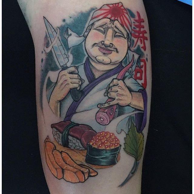 Sushi tattoo by Alvaro Contreras