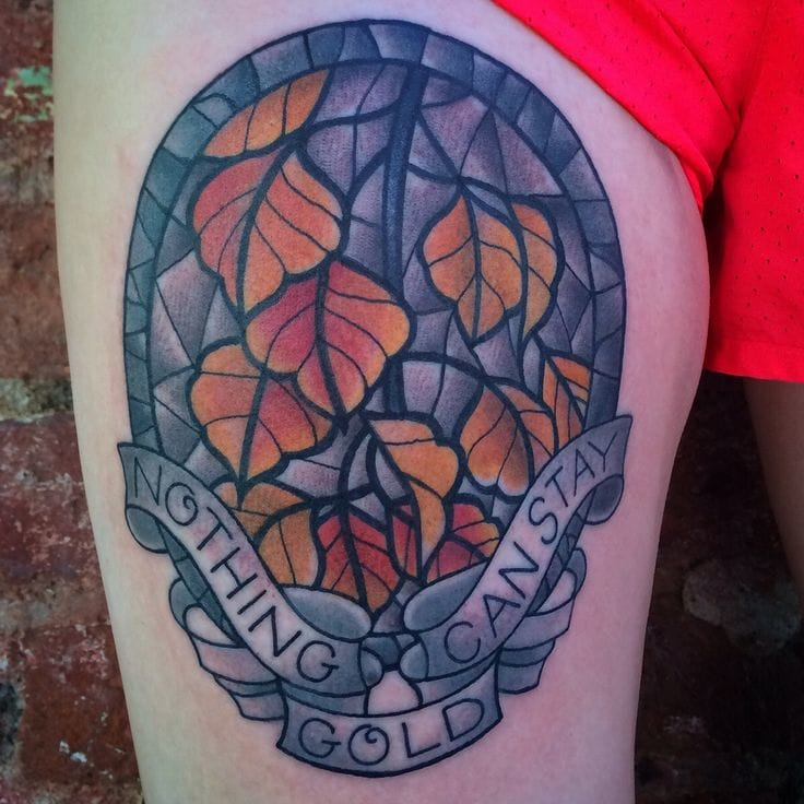 Lovely stained glass tattoo by Jenn Small of 510 Expert Tattoo, Charlotte NC.