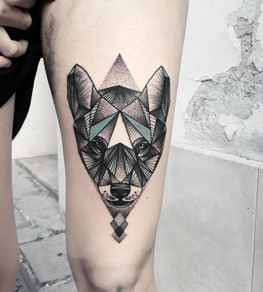 Geometric animal tattoo #MatteoNangeroni #animaltattoo #geometry #geometrictattoo
