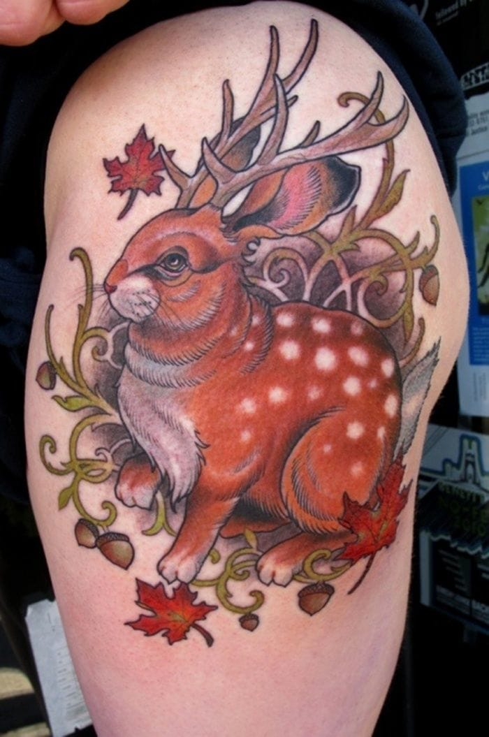 Do you know the legend of the Jackalope, this mythical animal half rabbit half deer? By Ryan Madson at Scapegoat Tattoo, Portland OR.