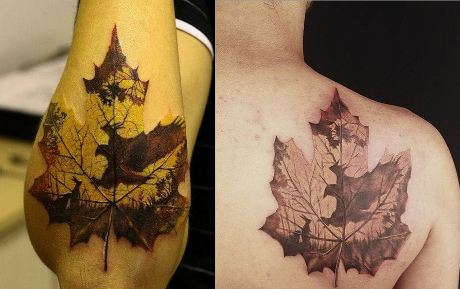 Two examples of this gorgeous leaf tattoo, do you know where it is from and who are the artists?