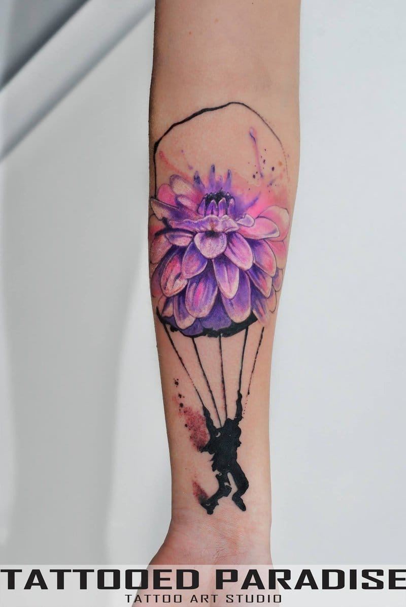 Painting style tattoo with poetic concept.