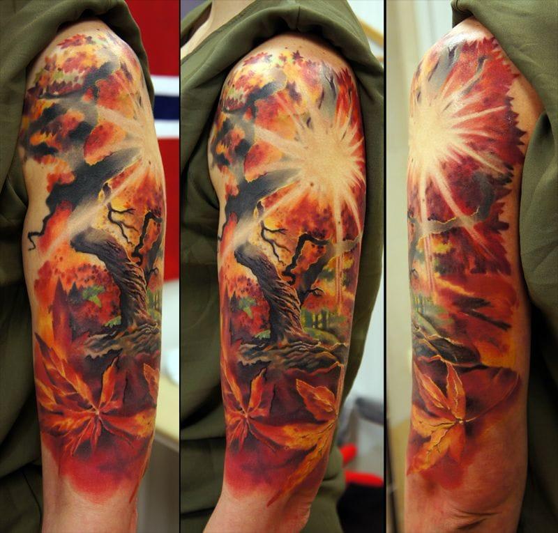 Amazing forest tattoo by Andrey Barkov aka Grimmy 3D...