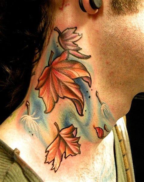 New school leaves on the neck, by Amanda Leadman of Black 13 Tattoo.