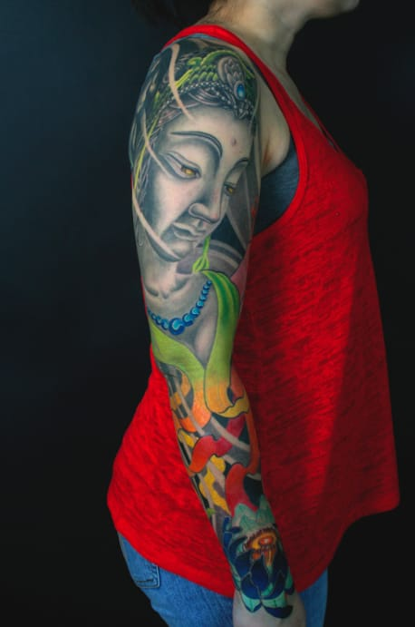 Powerful Quan Yin sleeve tattoo. Huge tattoos bring that undeniable impact to tattoos!