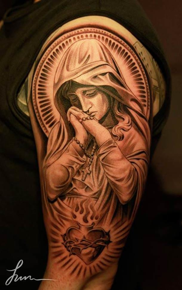Mary with a sacred heart, tattoo by Jun Cha