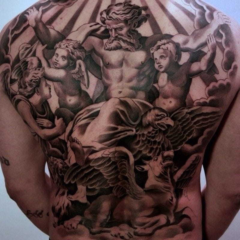 Masterful black and grey back tattoo by Jun Cha