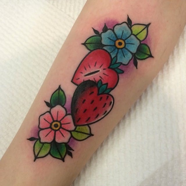 Strawberry tattoo by Cherry Buttons