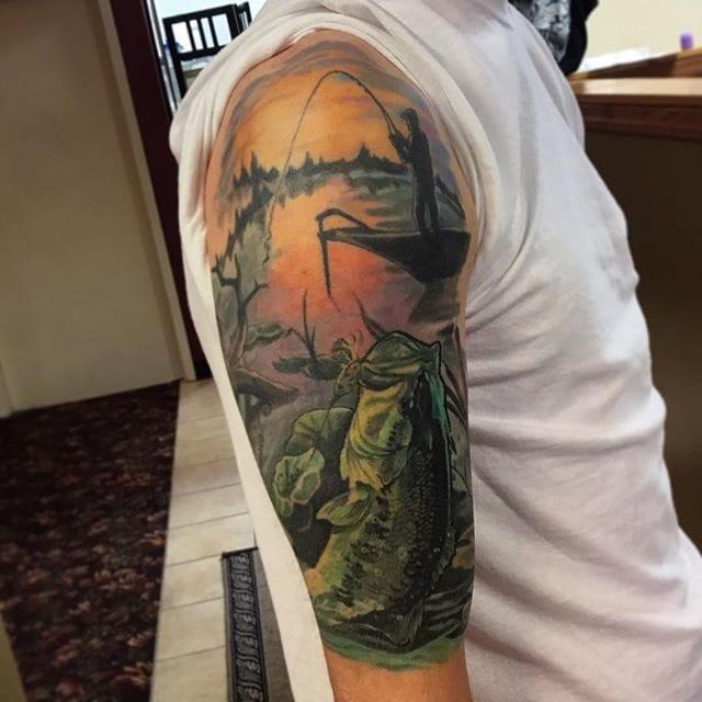 Fishing Tattoo by Brandon Heffron