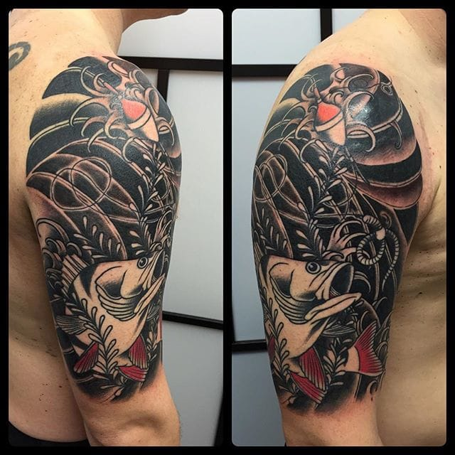Japanese Fishing Tattoo by Charlie Coppolo