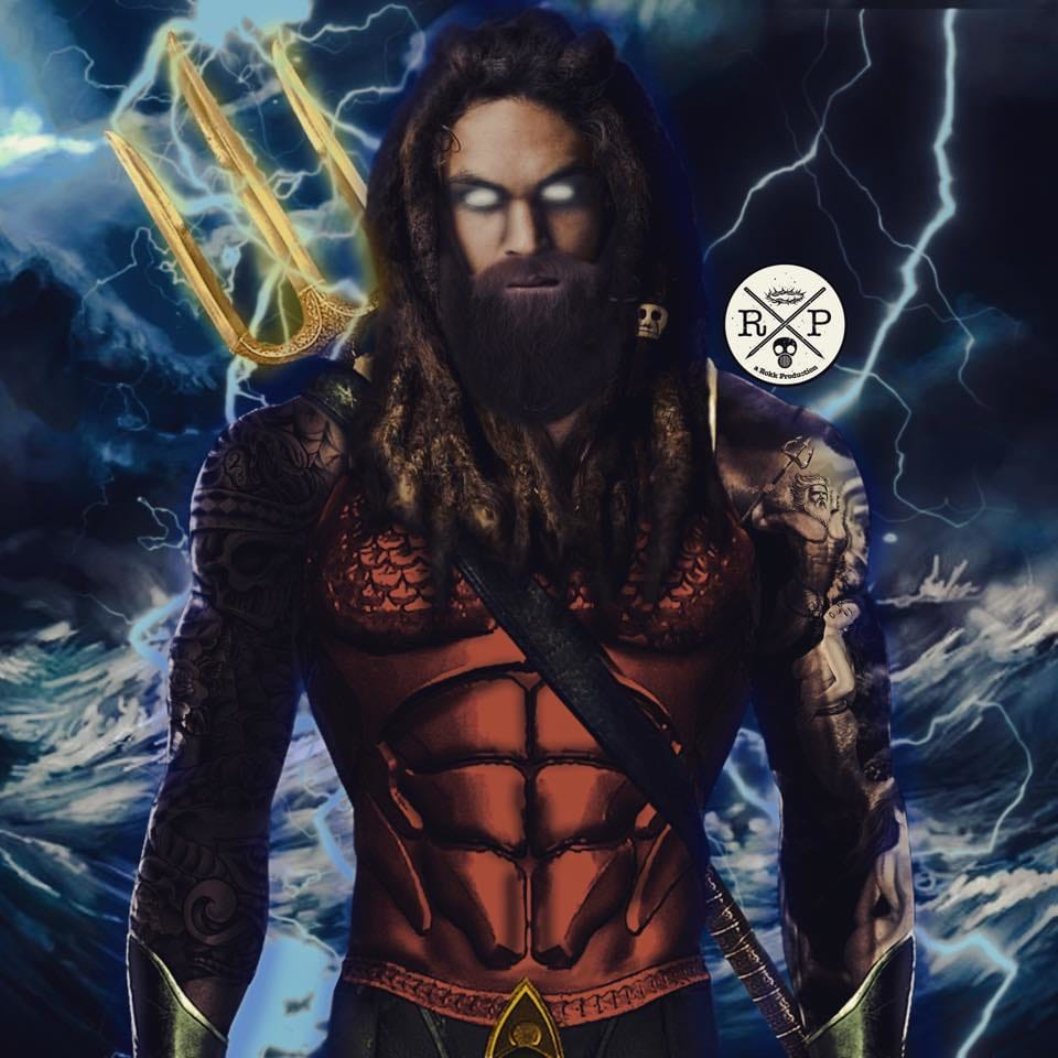 Tatted up Aquaman, A Rokk Productions