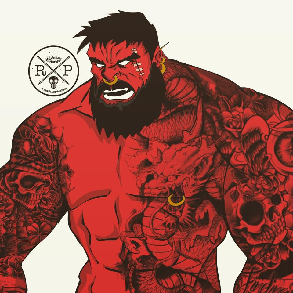 Tatted up Red Hulk , A Rokk Productions