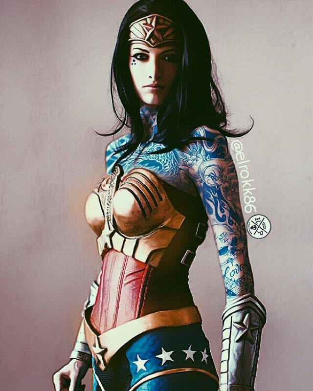 Tatted up Wonder Woman, A Rokk Productions