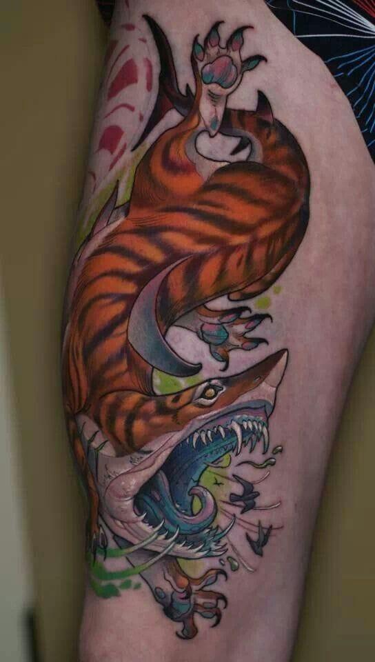 Tiger Shark Tattoo by Curtis Burgess