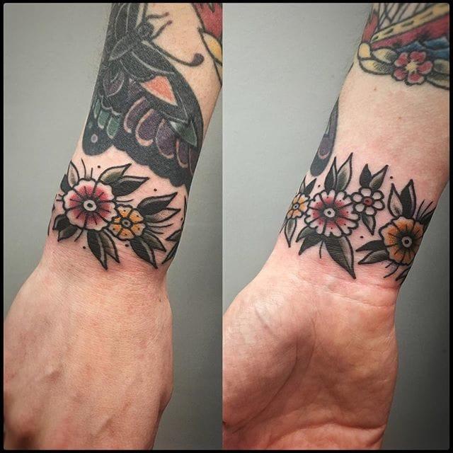 Floral Cuff Tattoo by Bastien Jean