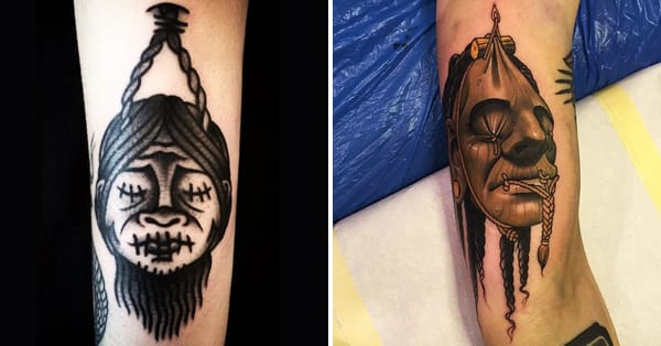 8 freaky shrunken head tattoos tattoodo. Black Bedroom Furniture Sets. Home Design Ideas