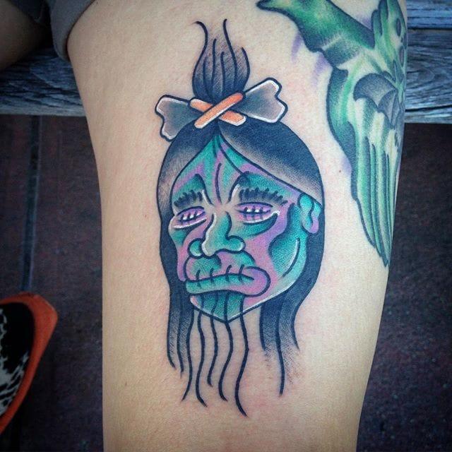 Shrunken Head Tattoo by @wizard_of_whipshade