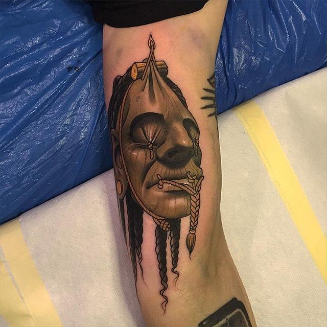 Shrunken Head Tattoo by Dan Molloy
