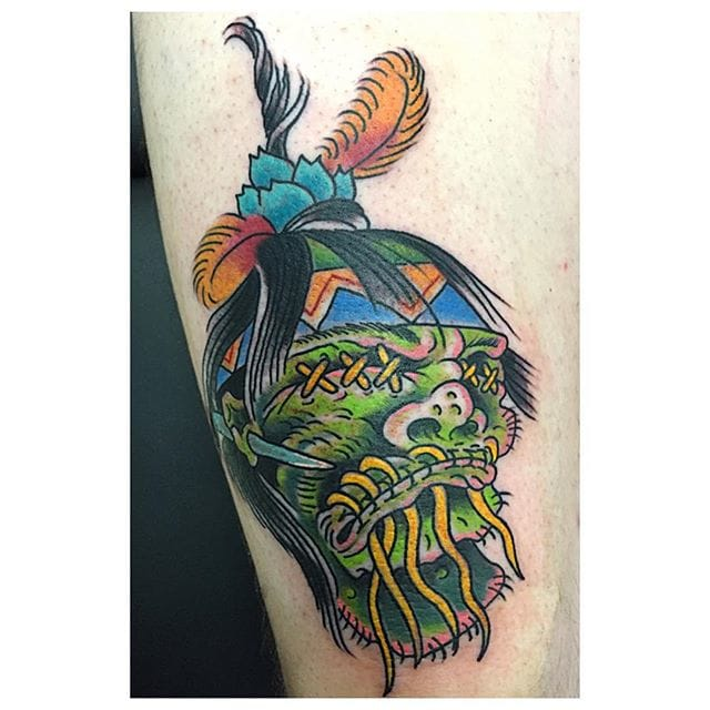 Shrunken Head Tattoo by Kevin Borowski