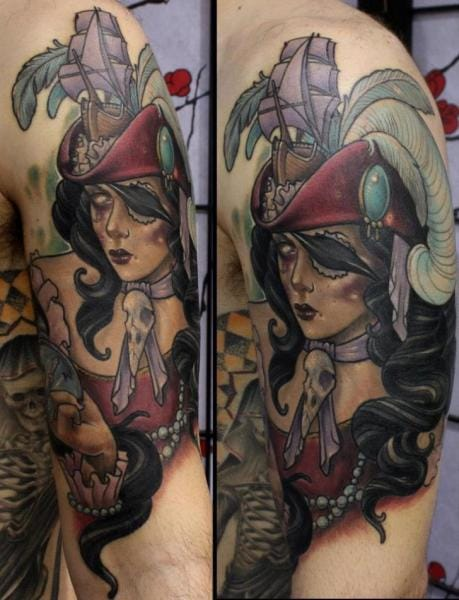 Pirate Women Tattoo by Dirty Roses