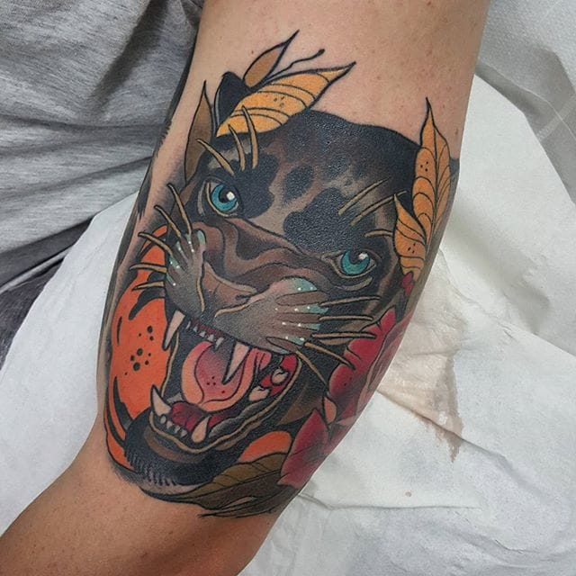 Neo traditional panther tattoo for Traditional panther tattoo