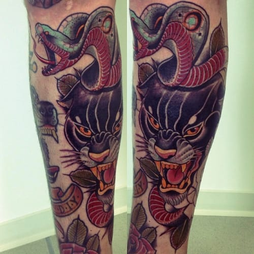 Neo-Traditional Panther Tattoo by Alex Dörfler
